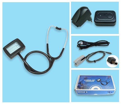 healthcare General Medical Multi-function digital visual electronic stethoscope + ECG + spo2 pulse oxygen Saturation with CE