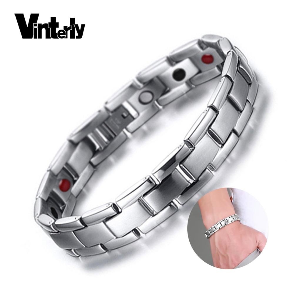 Vinterly Heilung Armband Männliche Magnetische Germanium Edelstahl Armbänder Männer Hologramm Armbänder für Männer Handkette Schmuck