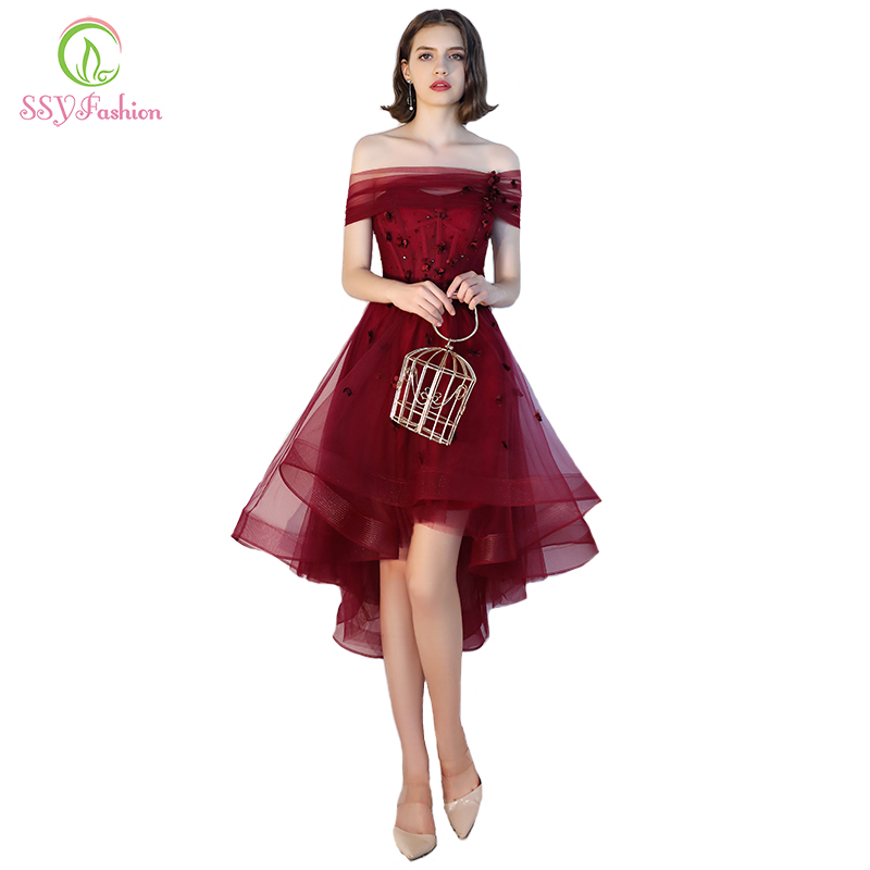 SSYFashion New Banquet Elegant Burgundy Cocktail Dress Short Front Long Back Appliques Party Gown Formal Dress Robe De Soiree