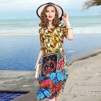 Цветочный шелковое платье 2019 сезон: весна лето плюс размеры пляжные повседневное богемные Длинные платья для женщин 456 XL Винтаж желтый цвет
