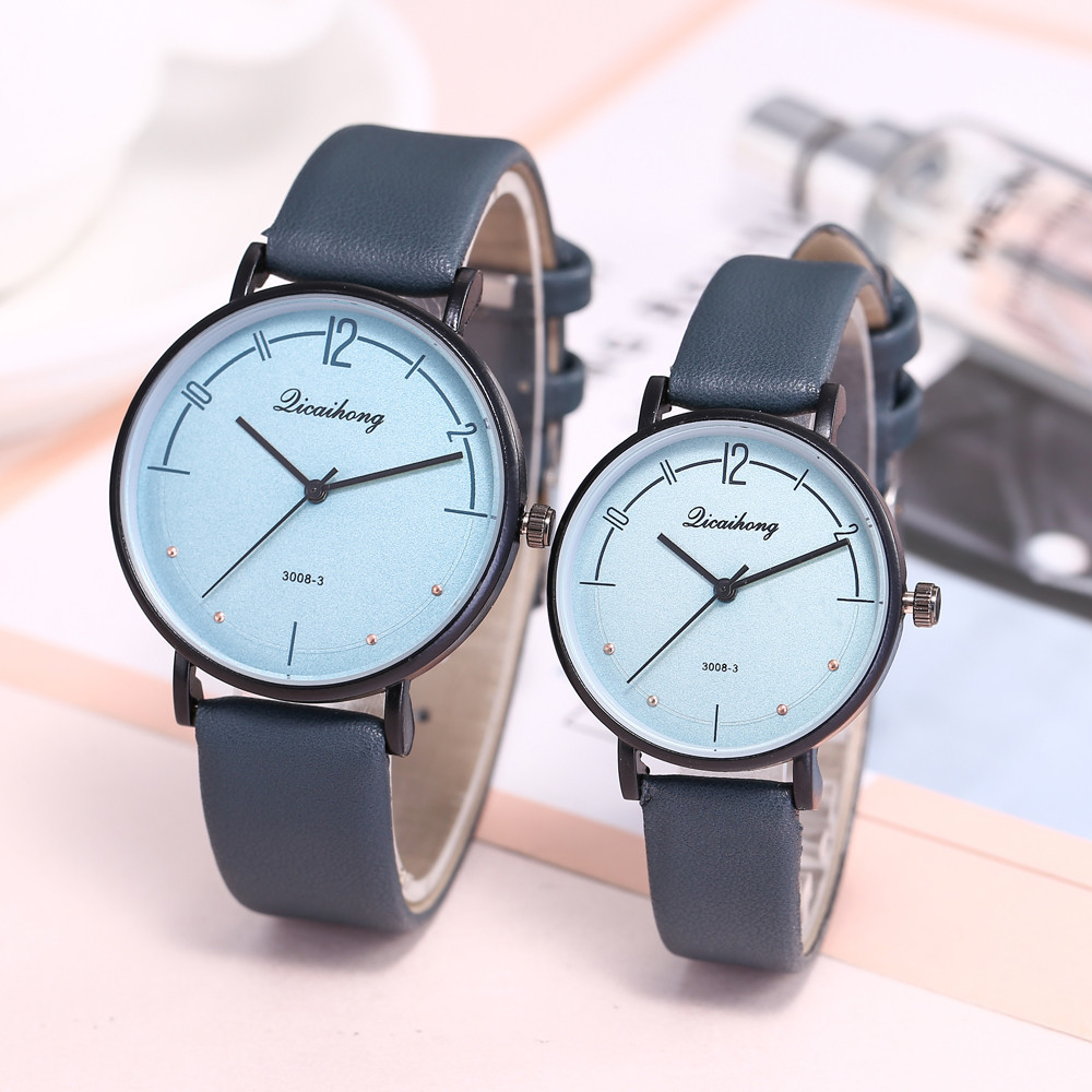 Qicaihong 2PCS Lovers Wrist Watches Fashion Leather Band Analog Quartz Round Couples Watch Man And Ladies Watches For Women