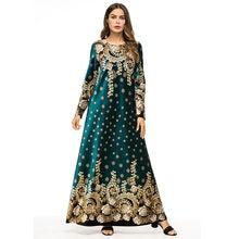 7809a893022cd جديد السيدات اللباس قطيفة عالية الجودة ماكسي طويلة الأكمام فساتين أنيقة  الذهب ختم الأزهار الطباعة مسلم اللباس الوردي الأخضر الدا.