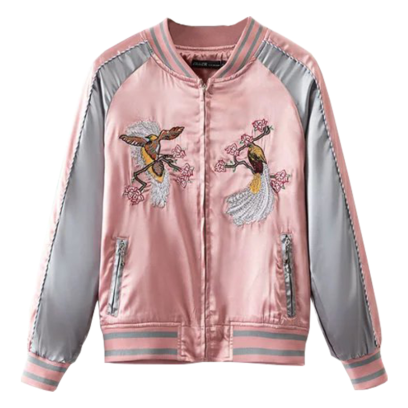 Floral Birds Embroidery Souvenir Bomber Jacket Women Baseball Pocket  Harajuku Pink Contrast Satin Duster Coat Sukajan
