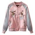Spring Floral Birds Embroidery Souvenir Bomber Jacket Women Baseball Pocket Harajuku Pink Contrast Satin Duster Coat Sukajan