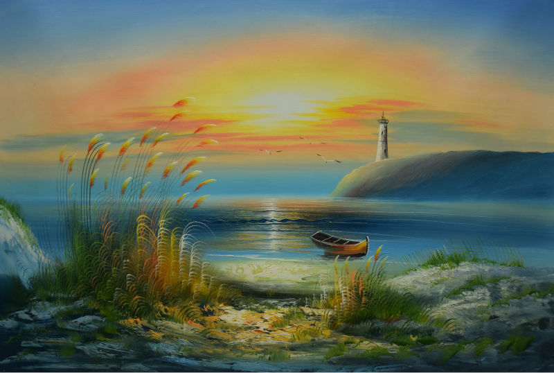 ᑐHand Painted Oil Painting on Canvas Modern Wall Picture Morning ...