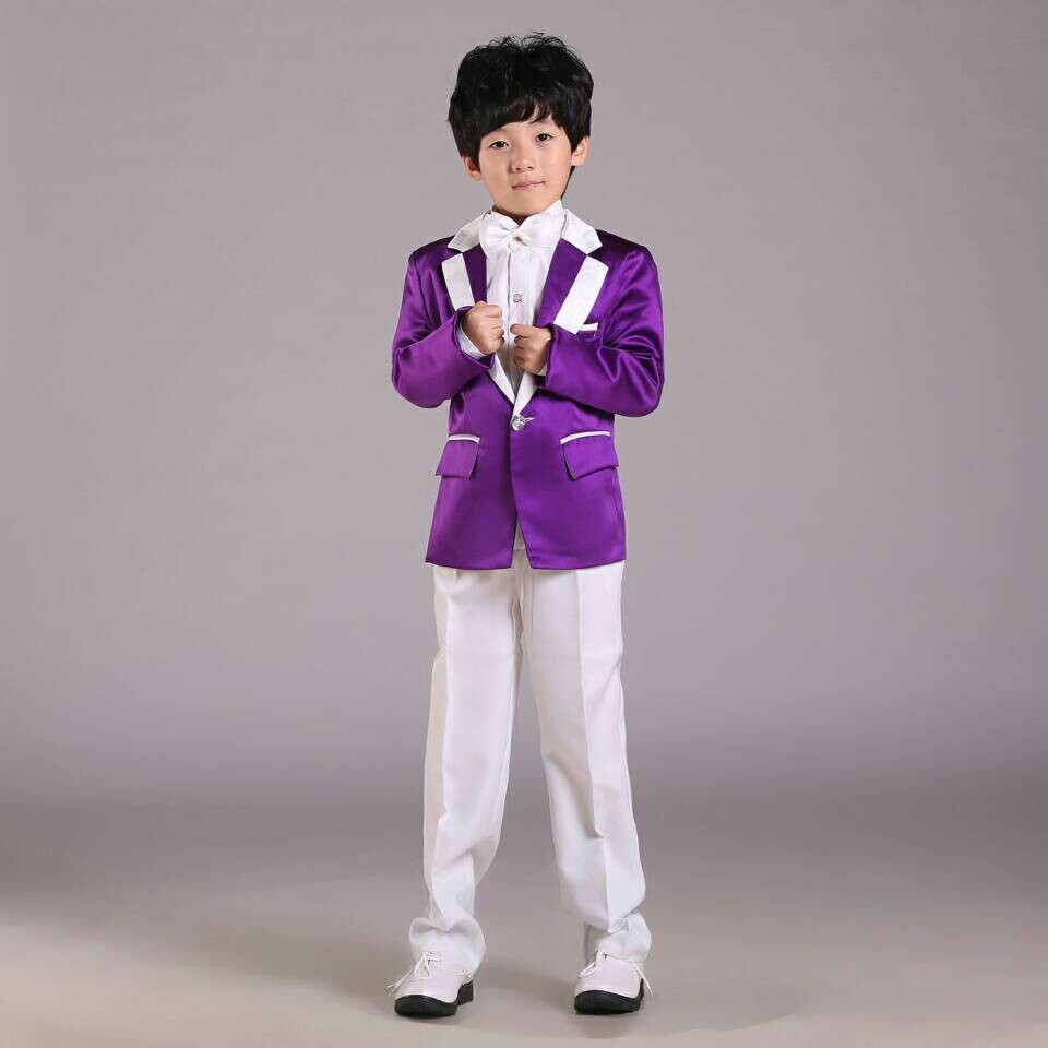 new arrivals 2017 boys tuxedo purple performance clothing for kids wholesale children wedding suitchina