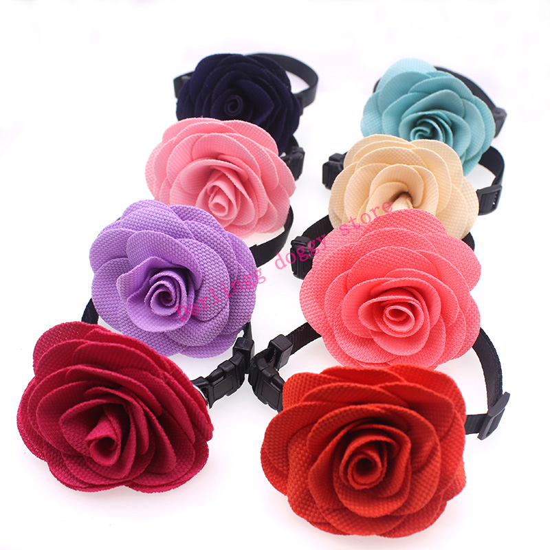 30X Elegant Pet Puppy Dog Cat Collar Rose Flower Bow ties Adjustable Bright Rose Dog Grooming