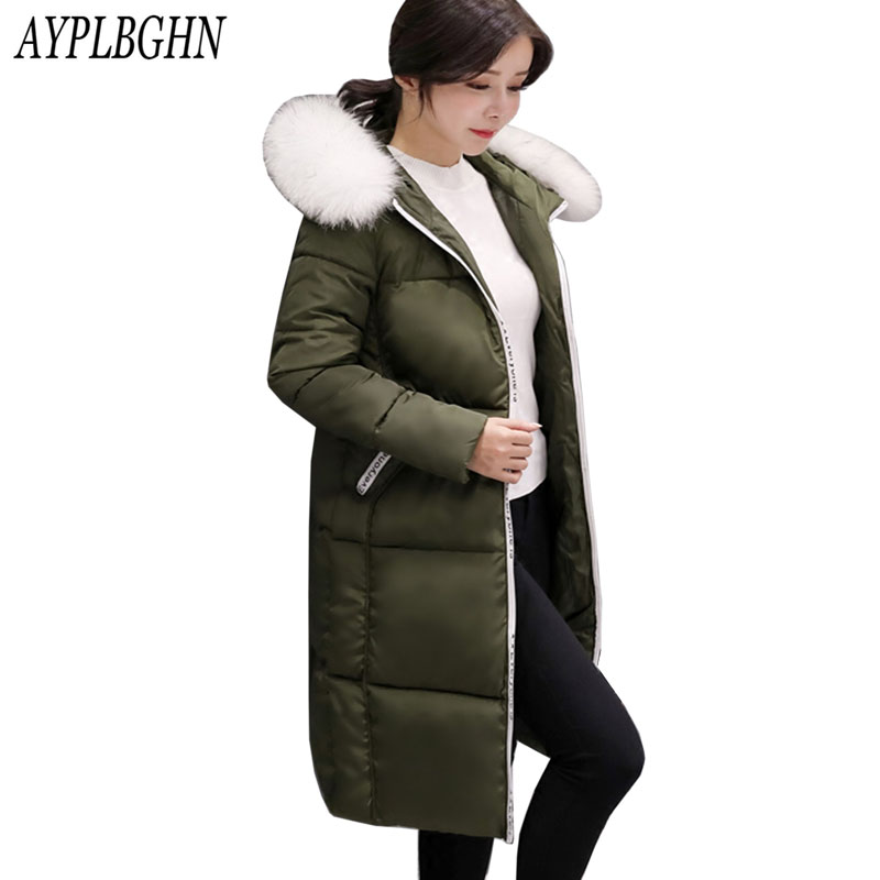 2017 New Winter Fashion Cotton Coat Female Slim Warm Hooded Parkas Female Overcoat High Quality Women Cotton padded long Jacket new mens warm long coats lady cotton warm jacket padded coat hooded parkas coat winter top quality overcoat green black size 3xl
