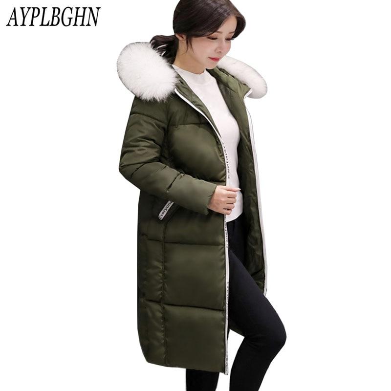 2017 New Winter Fashion Cotton Coat Female Slim Warm Hooded   Parkas   Female Overcoat High Quality Women Cotton padded long Jacket