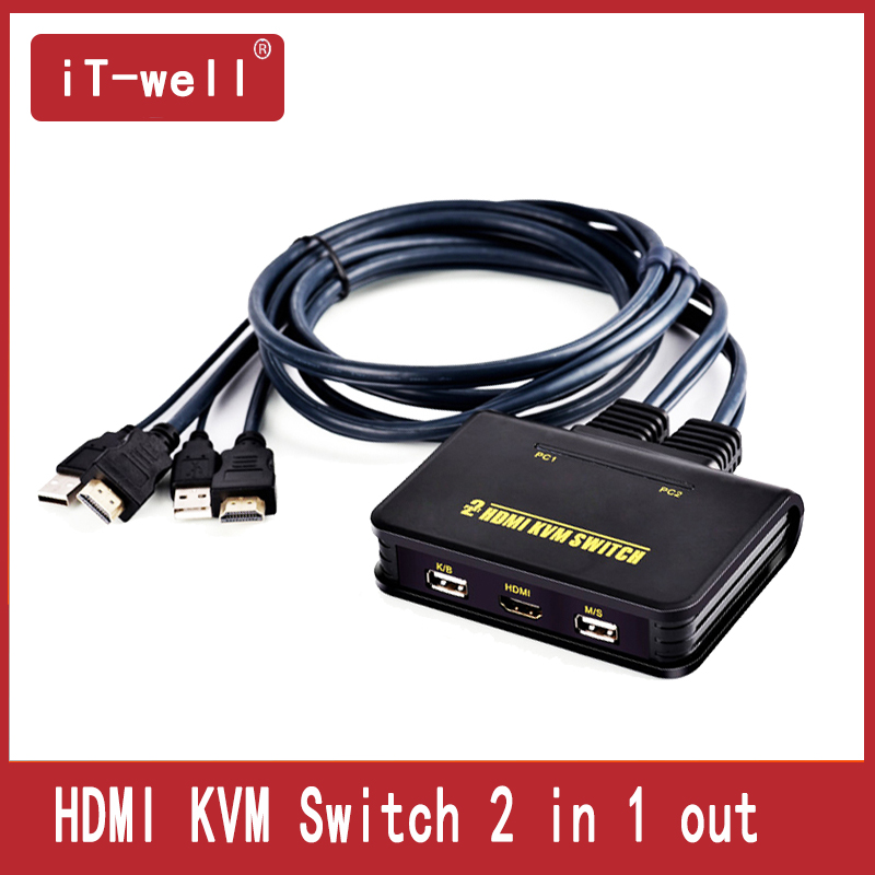 KVM Switch 2 In 1 Out USB Auto HDMI Computer Switch 2 Computers Shared Keyboard Mouse  Display Free 2 Cables Support 1080P