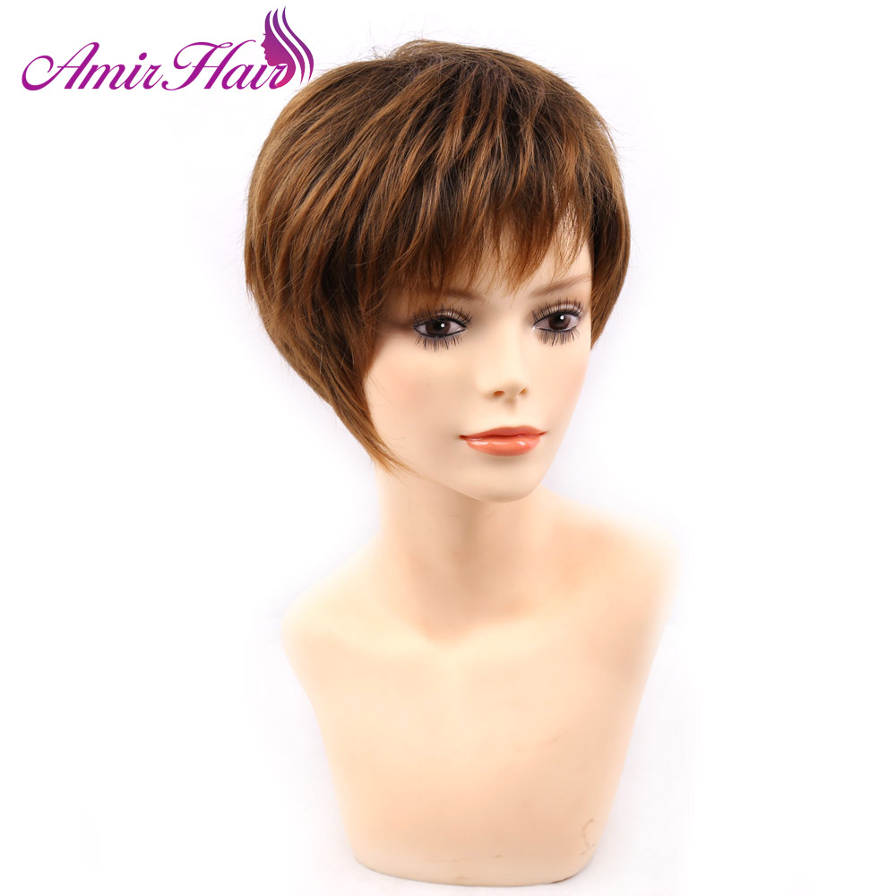 Amir blonde short female haircut, puffy straight pelucas pelo natural short Synthetic hair wigs for American Africa women invisible bra