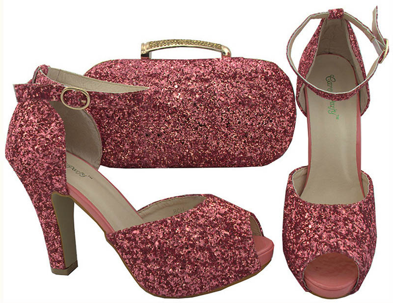Color Coral zapatos italianos con el bolso a juego zapato y conjunto de bolsas decoradas con Rhinestone partido zapatos y bolsa para las mujeres