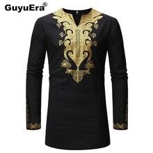 GuyuEra New African Dashiki Long-sleeved Shirt Mens Gilded Wind European Code