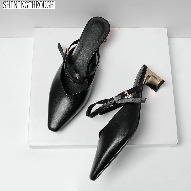 women slippers cow leather metal med high heel outside dress shoes woman black beige lady mules