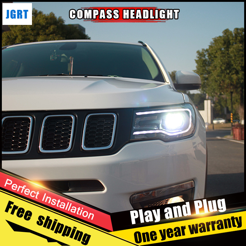 2PCS Car Style LED headlights for Jeep compass 2017-2018 for compass head lamp Lens Double Beam H7 HID Xenon bi xenon lens auto part style led head lamp for porsche 997 series led headlights for 997 drl h7 hid bi xenon lens angel eye low beam