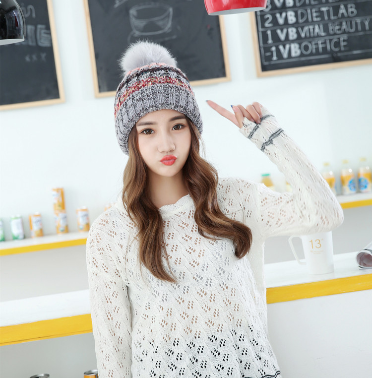 Free Shipping 1PCS Fashion 2016 Autumn And Winter Hats Warm Knitting Ball Cap Casual Outdoor Caps For Women WCXD006