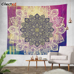 Image 2 - Cilected India Mandala Tapestry Gobelin Hanging Wall Floral Tapestry Fabric Polyester/Cotton Hippie Boho Bedspread Table Cloths
