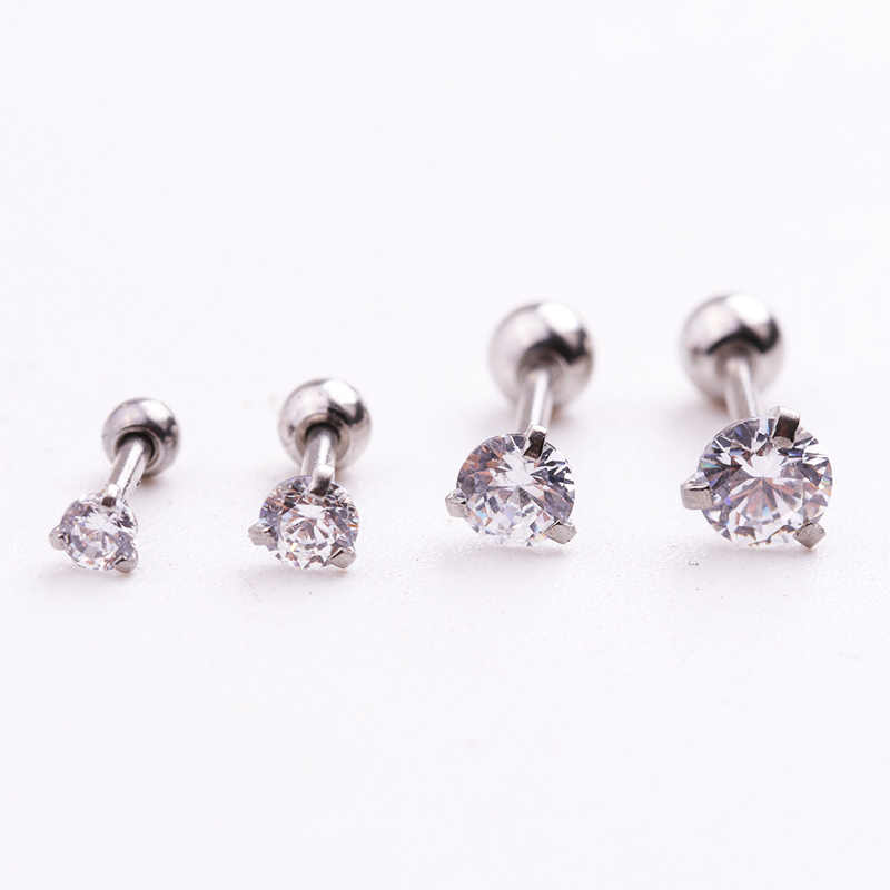 Sellsets 1piece 20g Barbell Tiny Round Zircon CZ Stud Earring Ear Tragus Helix Rook Piercing Jewelry for Men and Women