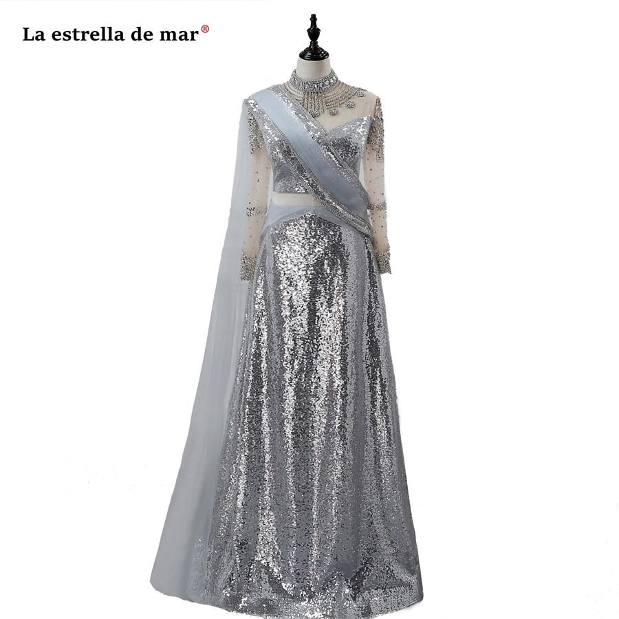 Vestido formatura2019sequins manches longues ALine or argent beauté pageant robes de bal longues scintillantes arabe inde robes de soirée