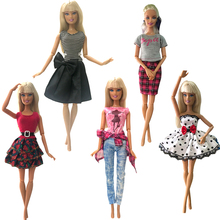 NK 5 Pcs / lot Doll Dress Pants Skirt Doll Clothes Dress Party Clothes For Barbie doll Accessories Festival Gift For Girl Toys