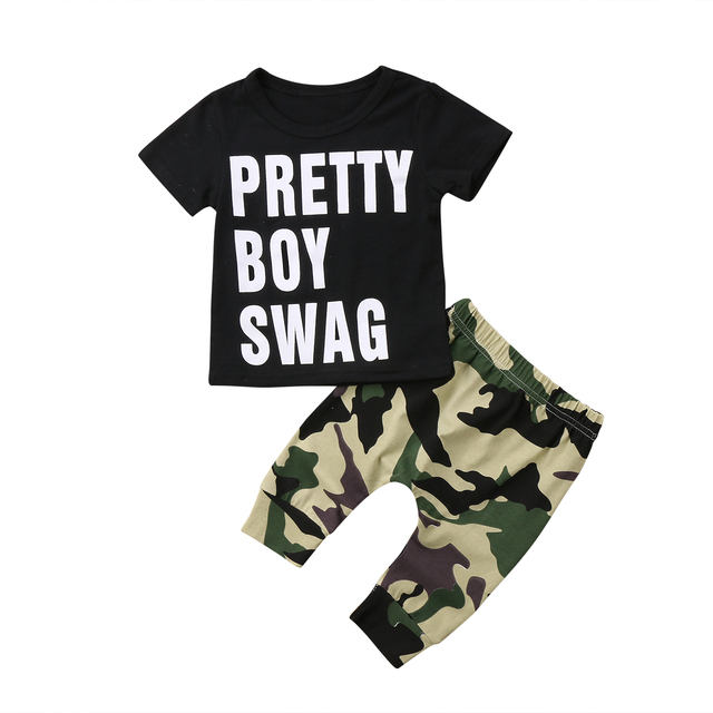 5c5d9907e7f8d 2018 Toddler Kids Baby Girls Short Sleeves Pretty Swag Outfit Clothes T- shirt Black Tops+Long Camouflage Pants Trousers 2PCS Set