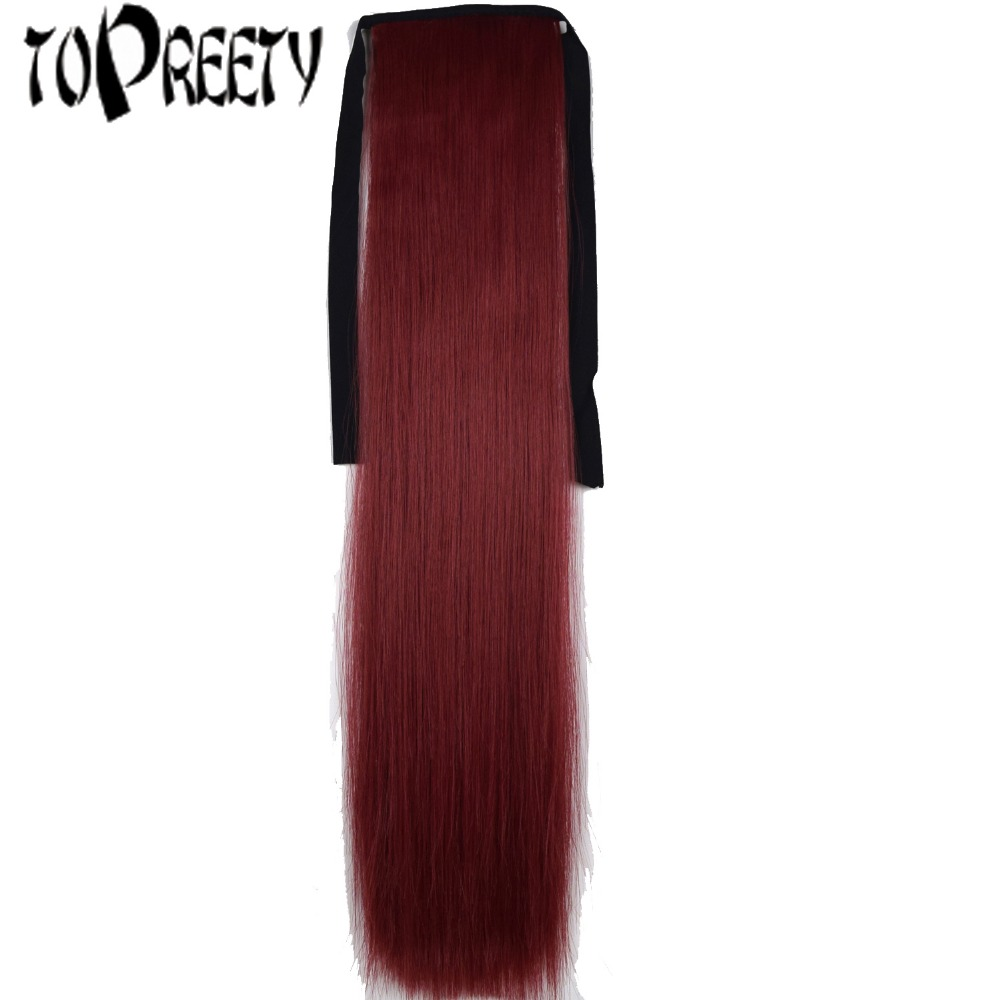 TOPREETY Heat Resistant B5 Synthetic Fiber 22 55cm 90gr Clip in Straight Ribbon Ponytail Extensions