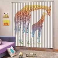 Animal Giraffe Window Kitchen Bay Screen Curtains for Living Room Home Transparent Sheer Curtain Drapes drop ship