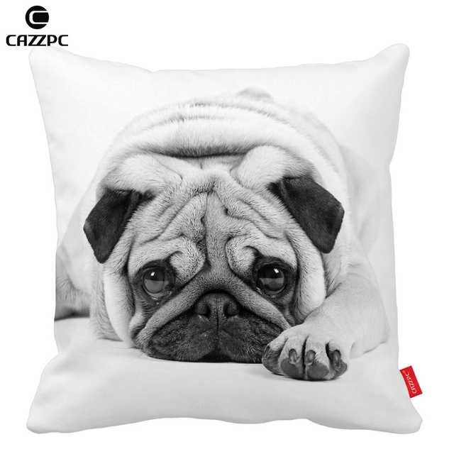 Cute Pug Pet Bulldog Dog Black And White Home Decorative Throw Pillow Cases Pillowcases Cushion Covers Decorate Sofa Chair Decor