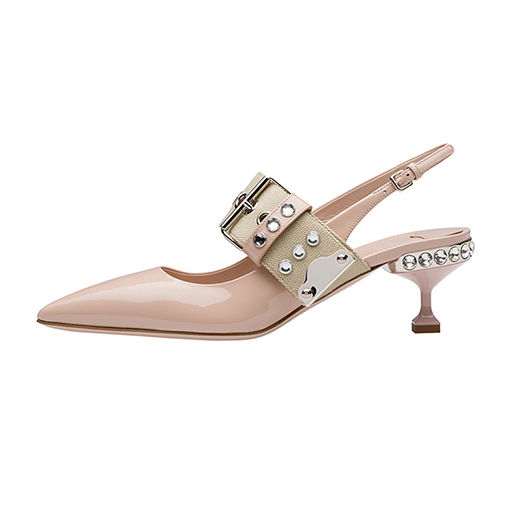 1d74011b8cec Kitten Shoes Crystal Strap Women Pointed Mary Jane Stiletto Pumps Nude  Patent Leather Medium Heels Brand Rhinestone Slingback-in Women's Pumps  from Shoes on ...