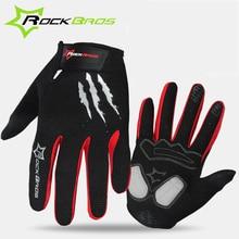 RockBros Велоспорт Зимние Перчатки Губка Pad Длинный Палец Мотоцикл Перчатки Для Горных Велосипедов Велосипед Перчатки Сенсорный Экран MTB Перчатки