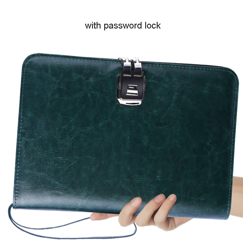 A5 Senior PU Leather Padfolio Business Travel Notebook Planner Portfolio With Password Lock Zipper 6-hole Binder Lift Handle