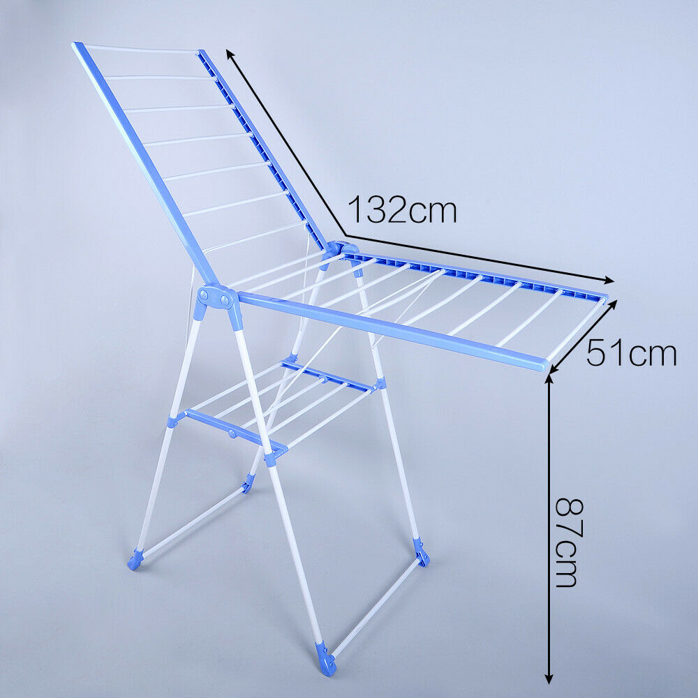 Wing Shape Foldable Laundry Clothes Storage Drying Rack Airer Portable Dryer Hanger Organizer Pole Indoor outdoor Balcony DQ0820 - 5