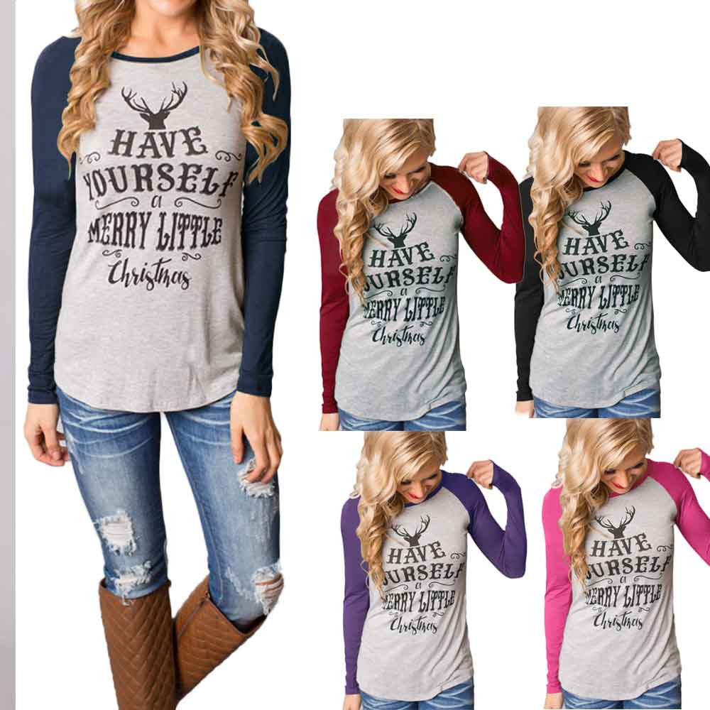 Fairies tell Tee Shirt Femme Graphic Women Blouses Cotton Merry Christmas Printed Tops Long Sleeve Camisetas Mujer BLWS