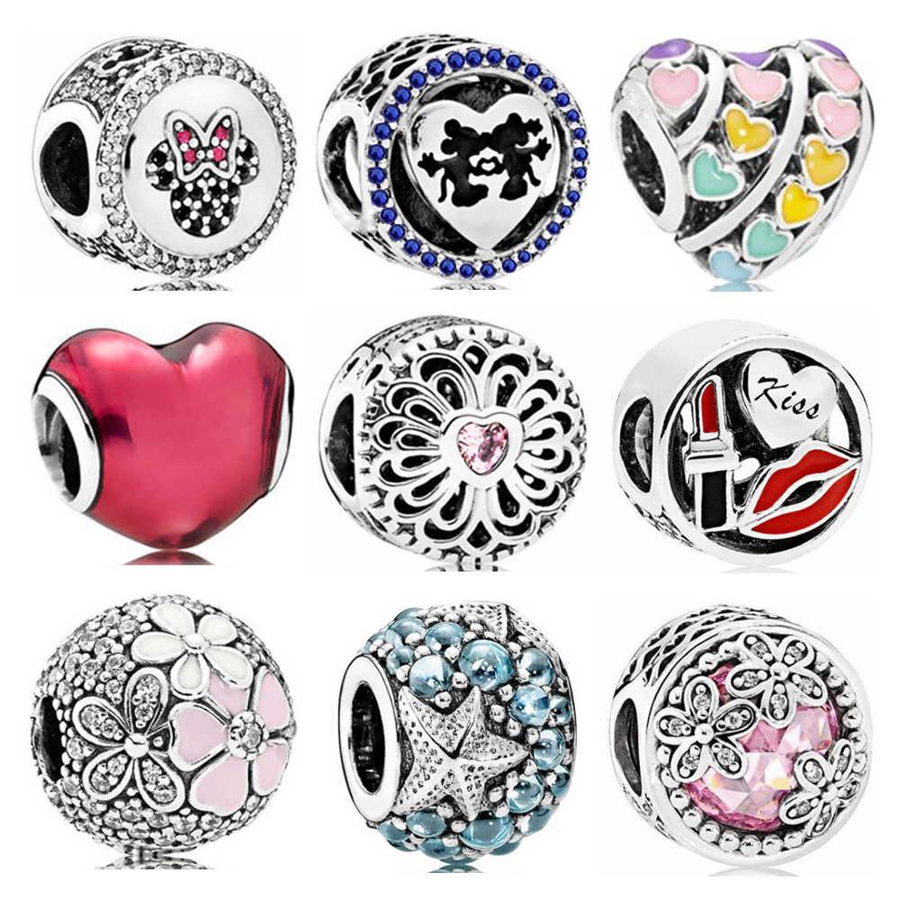 Gran oferta cuentas de fiesta flores amor corazones dijes con cuentas de cristal ajuste Pandora mujeres pulseras y brazaletes joyería DIY mujer Regalos