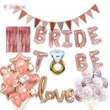 8Season Bride To  Letter Foil Balloons Wedding Bridal Shower Gold Silver Diamond Ring Balloon for Hen Bachelorette Supplies
