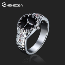 SHEWEIER Brand 2017 Vintage Fashion Ring Female Finger Rings For Women Men Ring Watch Jewelry Discount couple love rings jewelry