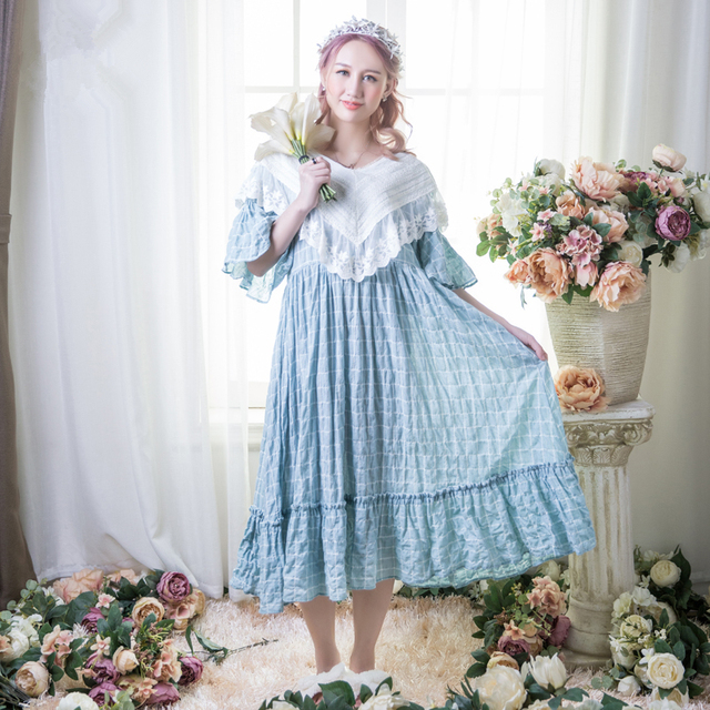 Women Sleepwear Gowns Long Nightgown Ladies Princess Dress Casual ...