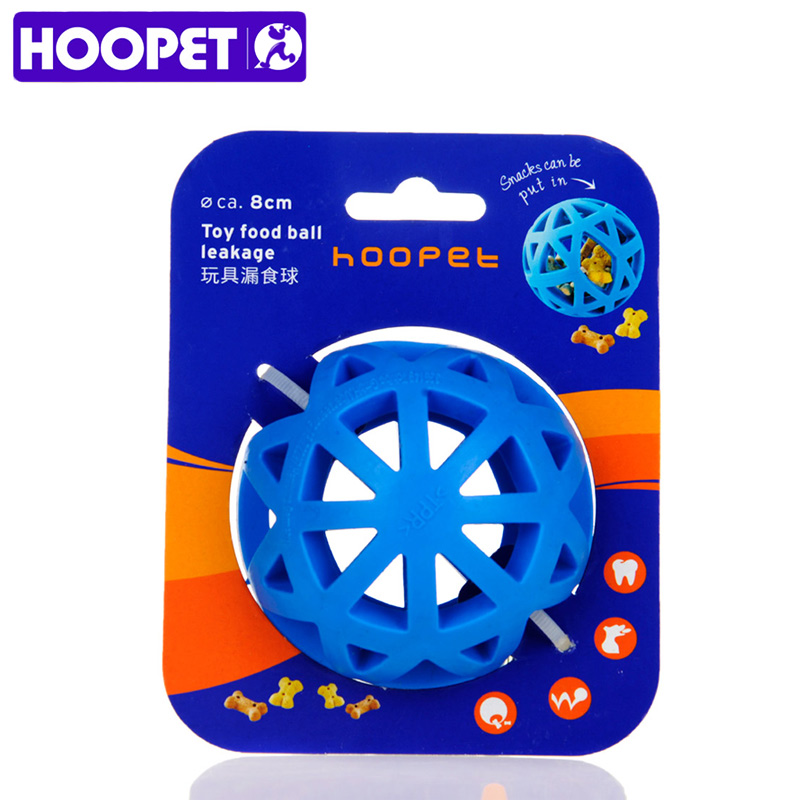 HOOPET Eco-friendly Natural Rubber Dog Toys Leakage Ball Hollow Blue Pet Feed Interactive Training