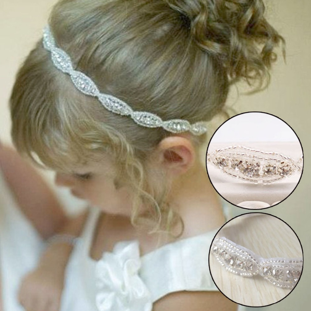 New Lovely Baby Girls Princess Flower Hairband Kids Children Rhinestone Headband Headwear Elastic Hair Band Accessories delicate hot 2016 fashion baby new lovely baby kids girls mini bowknot hairband elastic headband ju15