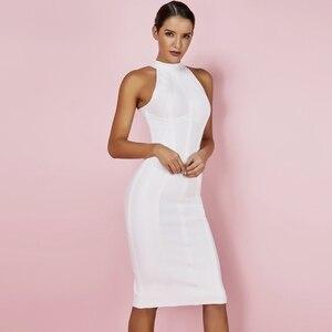 Image 2 - Ocstrade Sexy Women White Bandage Dress 2019 New Arrivals Striped Halter Midi Bodycon Dress High Quality Bandage Rayon Dress
