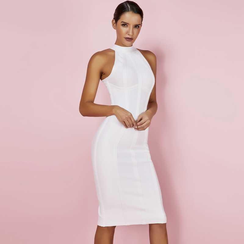 Ocstrade Sexy femmes blanc robe de pansement 2019 nouveautés rayé licou Midi robe moulante haute qualité pansement robe rayonne