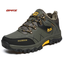 Winter Men's Sneakers With Fur Running Shoes Waterproof Boots Breathable Shockproof Sports sneaker Non-Slip  Large Size 39-47