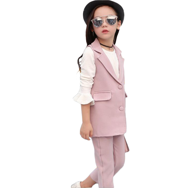 Kids Clothing Fall 2016 New Girl Lapel Suit Slacks Ropa De Nina Two-piece Outfit Ankle-length PantsSets Of Clothes For Girls
