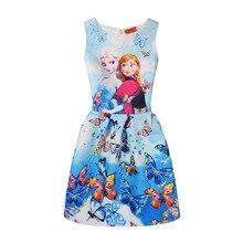 Фотография Elsa Dress For Summer Girls Children Dress Vest Print Butterfly Sleeveless Princess Dresses Elsa Anna Girl Dress Party Clothing