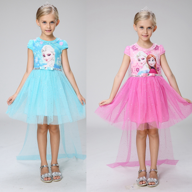 Lace Sequins Princess Anna Elsa Dress Halloween Party Role-play Costume Girl Dress Summer Short Sleeve Toddler Girls Clothes