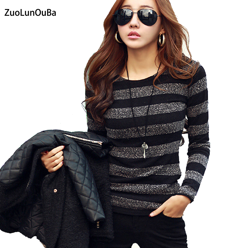 2018 Autumn Fashion Striped Harajuku Knitted Hoodies Women Sweatshirt O-neck Long Sleeve Casual Pullovers Female Slim Clothes