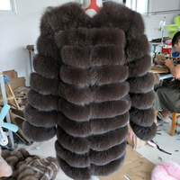 FURCHARM New Brand Winter Real Blue Fox Fur Coat Thick Warm Imitation Of Sables Women's Light Brown Long Jacket The fox fur Coat