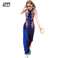 Fitaylor Summer Bohemian Embroidery Floral Maxi Dress Bandage Backless Sexy Beach Dress Boho Style Long Floor