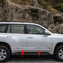 цена на Chrome Accessories For Toyota Prado J150 FJ150 Side Door Body Molding Cover Stripes Trim 2014 2015 2016 2017 2018 Parts