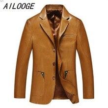 AILOOGE Для мужчин кожаный костюм осень-зима пиджак мужской костюм из овчины Топы натуральный спилок, кожа тонкая куртка черная, коричневая пальто